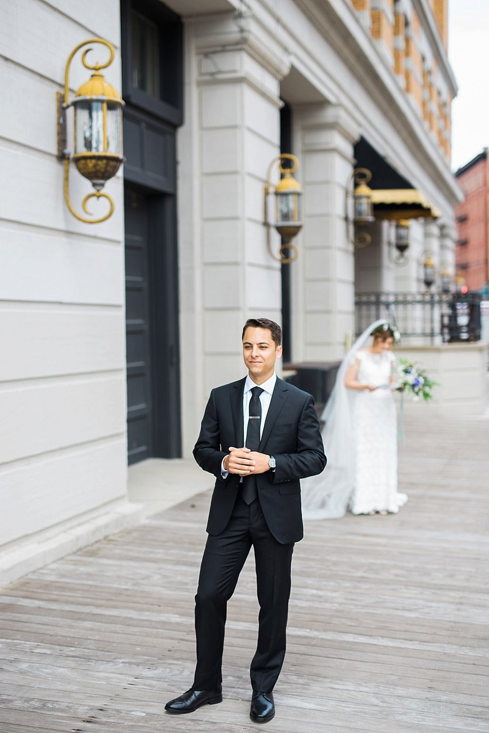 Groom awaiting his bride for their Pritzlaff wedding in Milwaukee