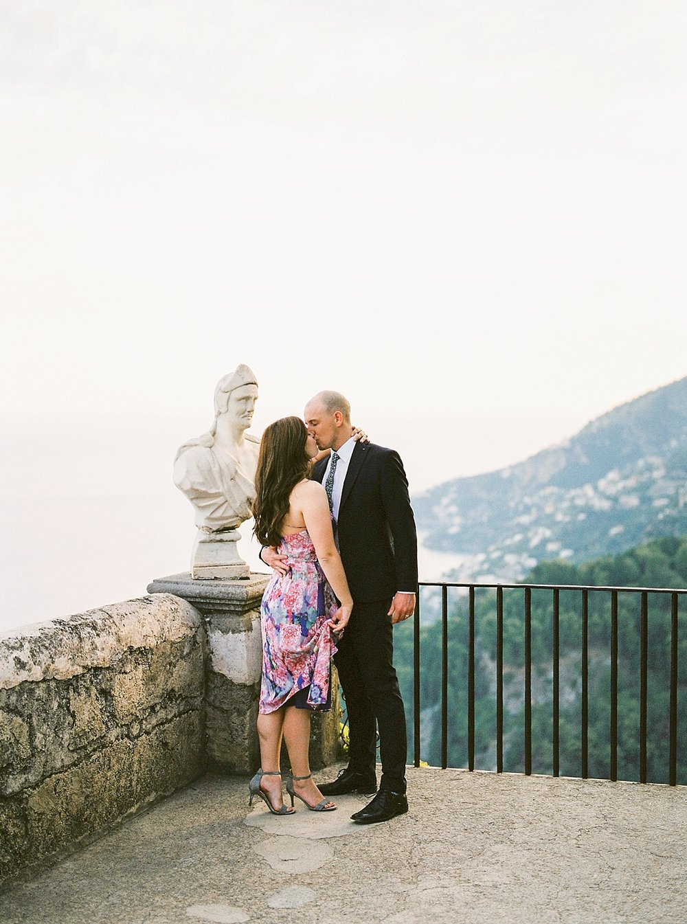 groom in custom trim fit suit at Villa Cimbrone in Ravello Italy for their destination elopement