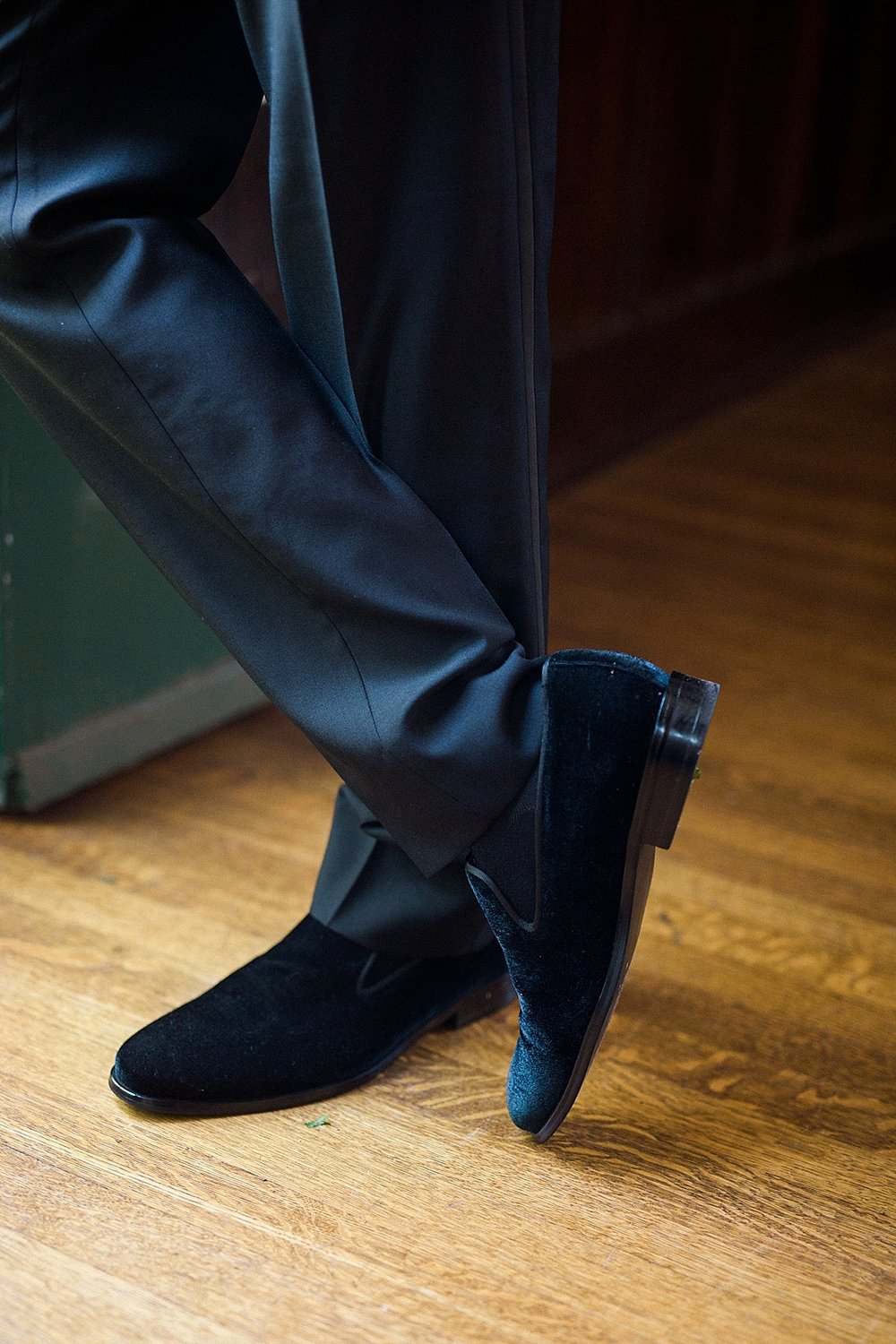 Groom in black velvet smoking loafers from the Black Tux for his wedding at Fenyes Mansion in Pasadena, California