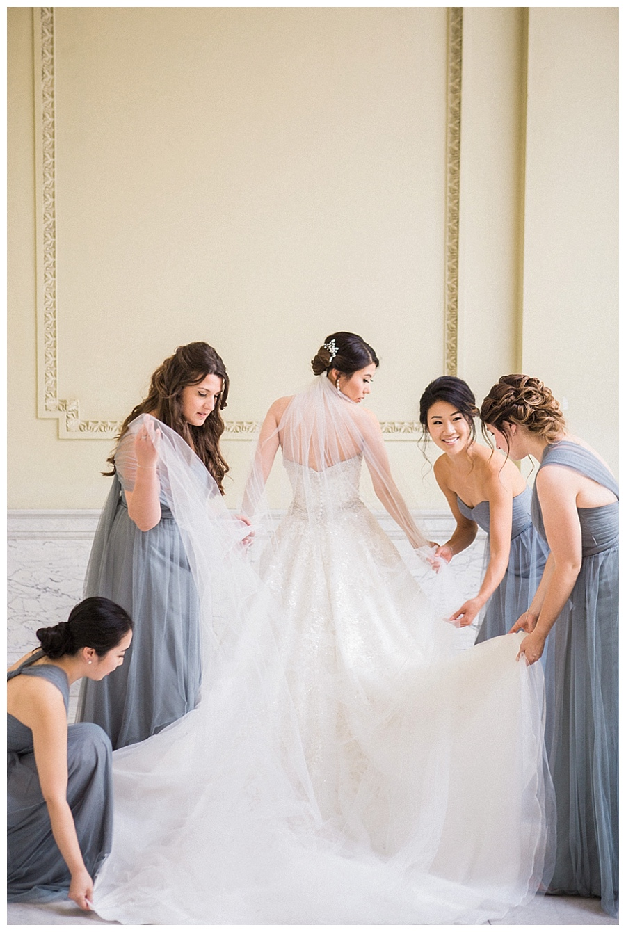 bridal party photos at the Wisconsin Historical Society