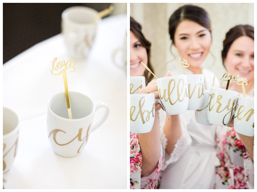 Bride and her bridesmaids toasting with custom coffee mugs