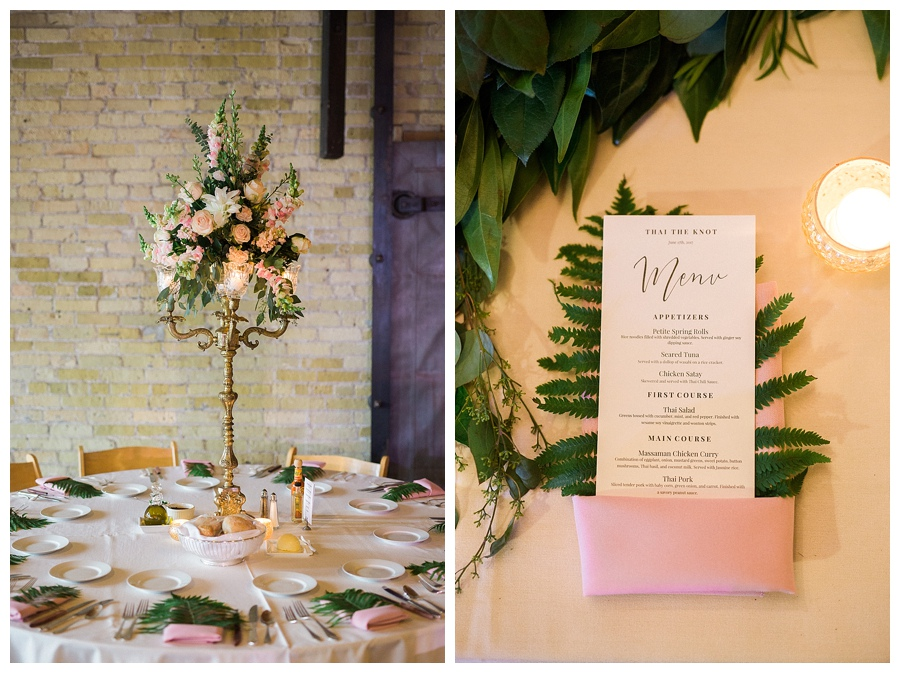 feminine and industrial wedding reception at the Pritzlaff