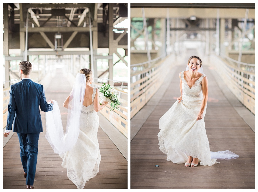 bride and groom photos on industrial bridge in Milwaukee