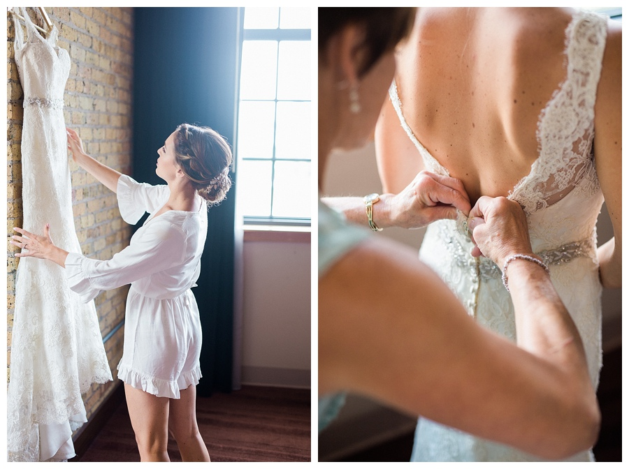 Bride getting ready at the Iron Horse Hotel in Milwaukee