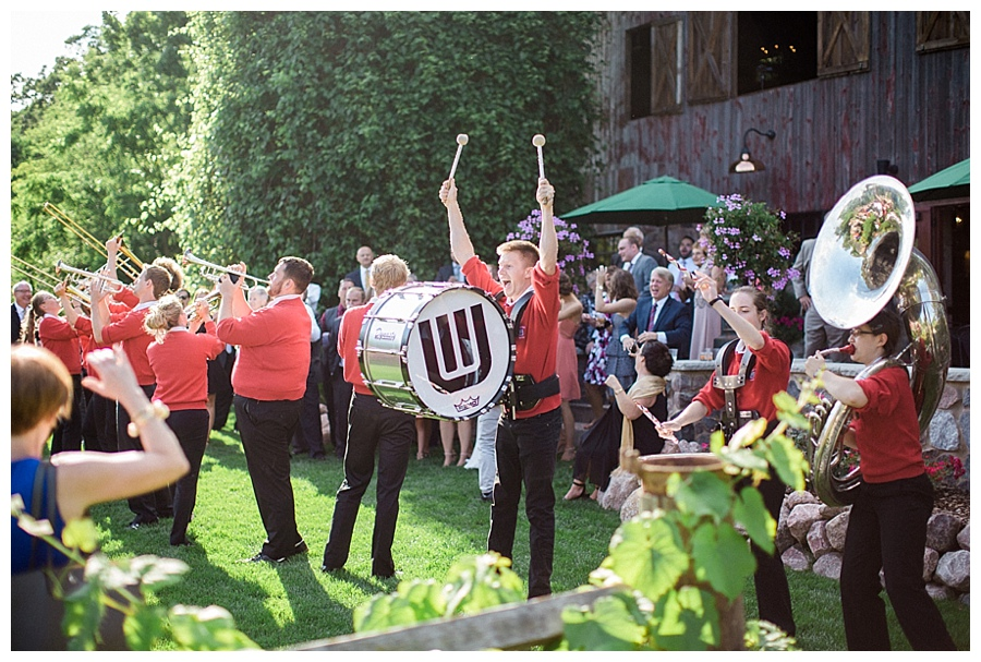 UW marching band appearance at al fresco cocktail hour at the Farm at Dover