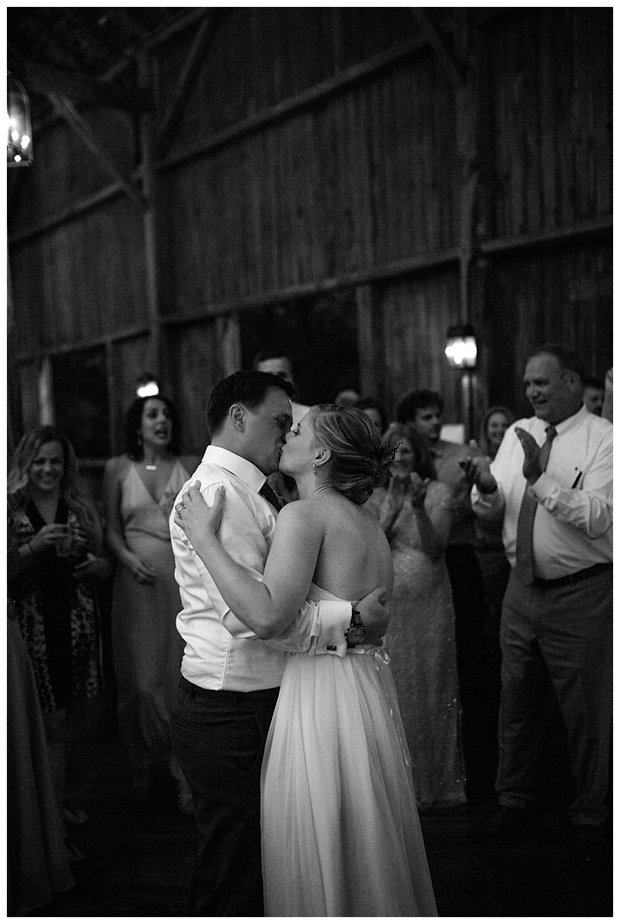 bride and groom dancing at their wedding at at the Farm at Dover