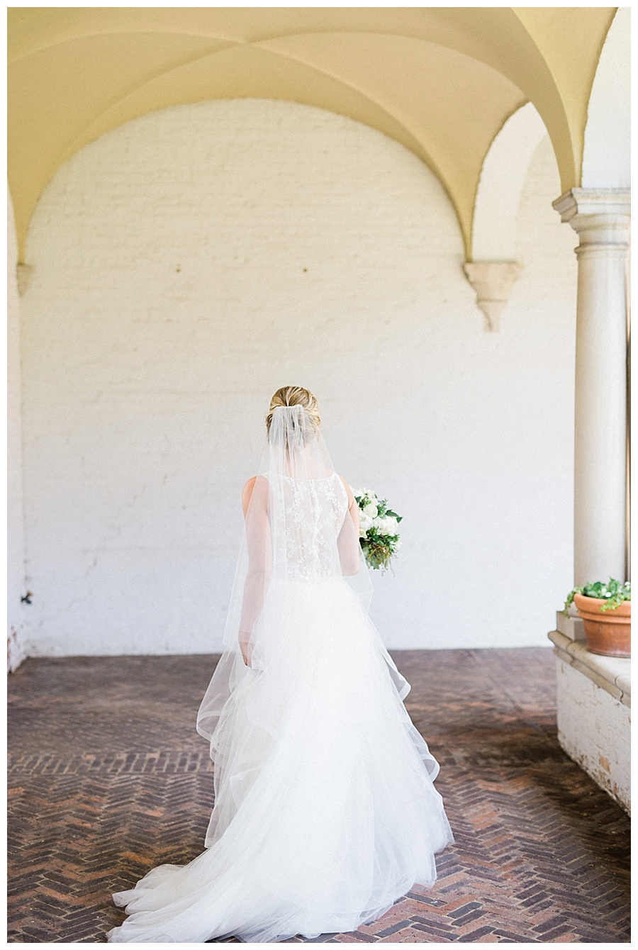 Bride wearing Nouvelle Amsale wedding dress as seen on Style Me Pretty