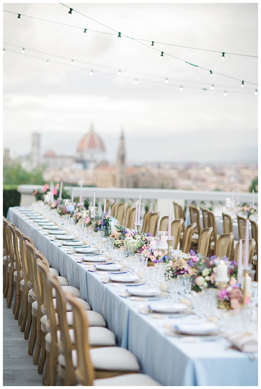 Al fresco italian wedding reception at Villa La Vedetta in Florence