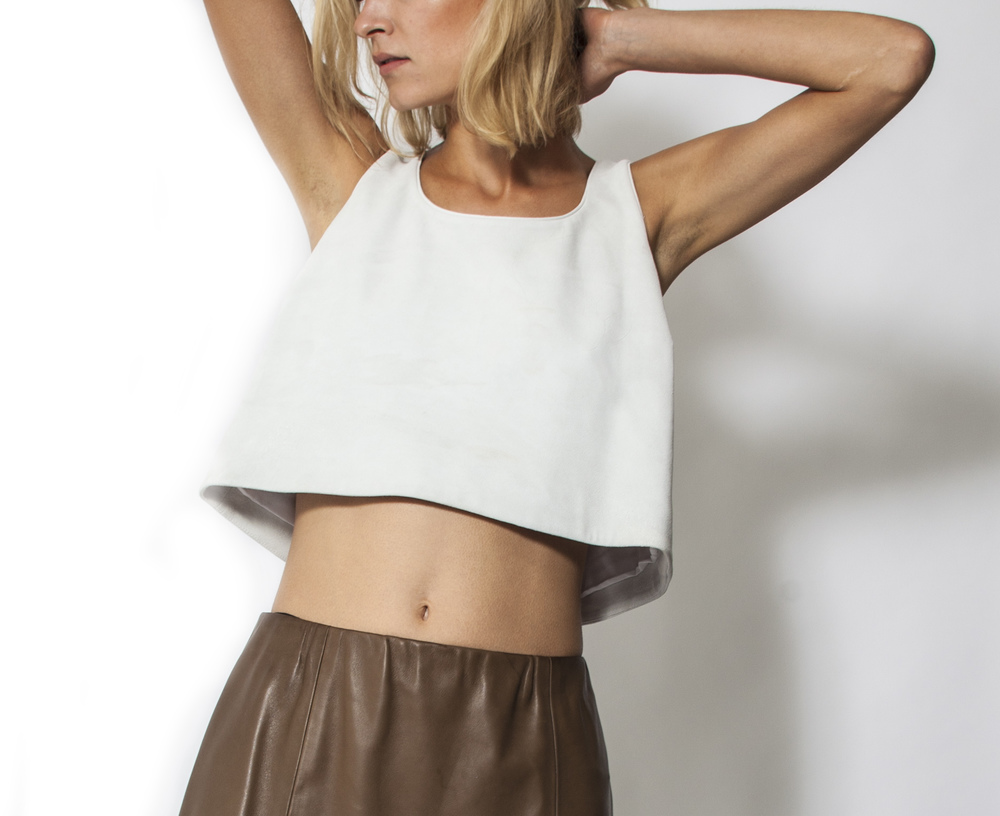 BLANC VELOUR SUEDE TOP