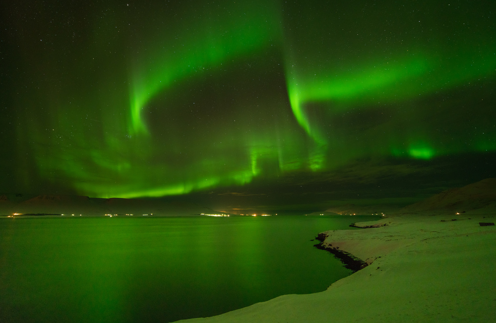 Aurora Borealis near Akureyri, Iceland.March 2, 2016. Sony A7rII with Rokinon 14mm f/2.8, ISO 3200, 8s.