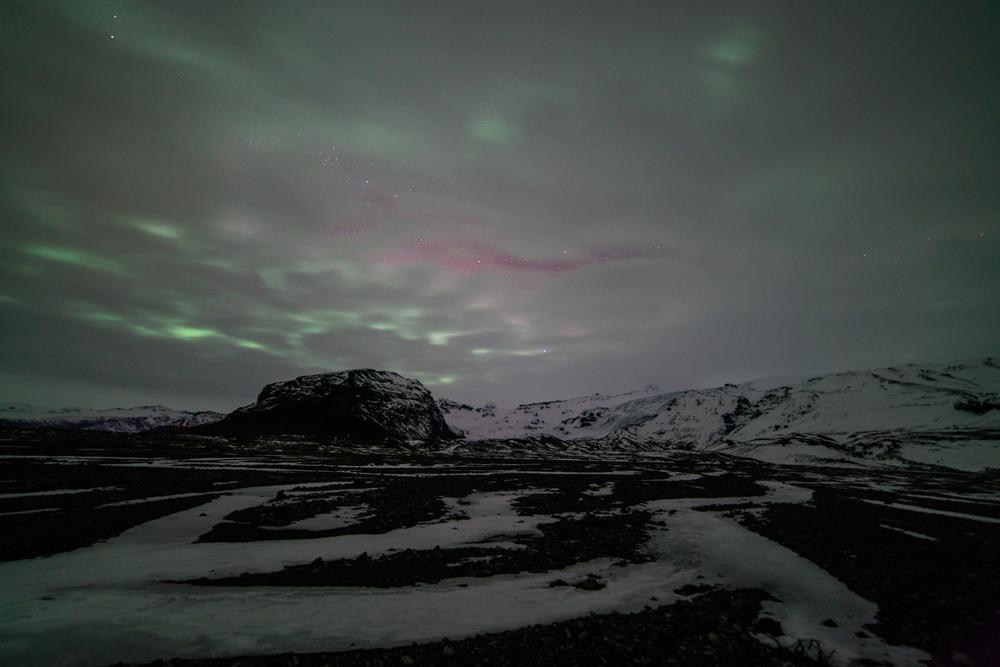 Disappointing Aurora Borealis near Skaftafell, Iceland. February 29, 2016. Sony A7rII with Rokinon 14mm f/2.8, ISO 800, 30s.
