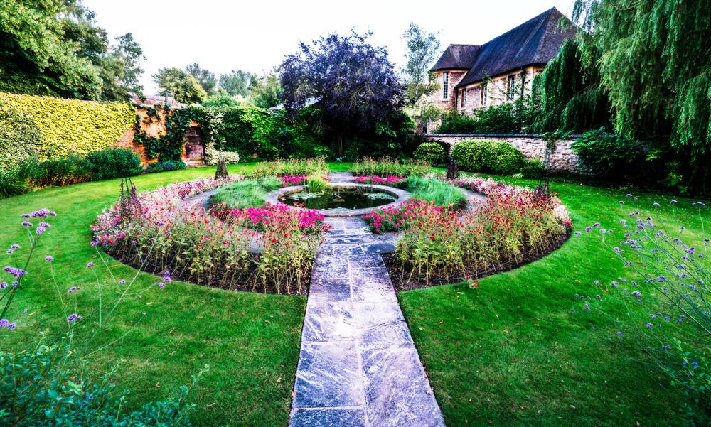 Garden at Christ Church College, Oxford, England, UK