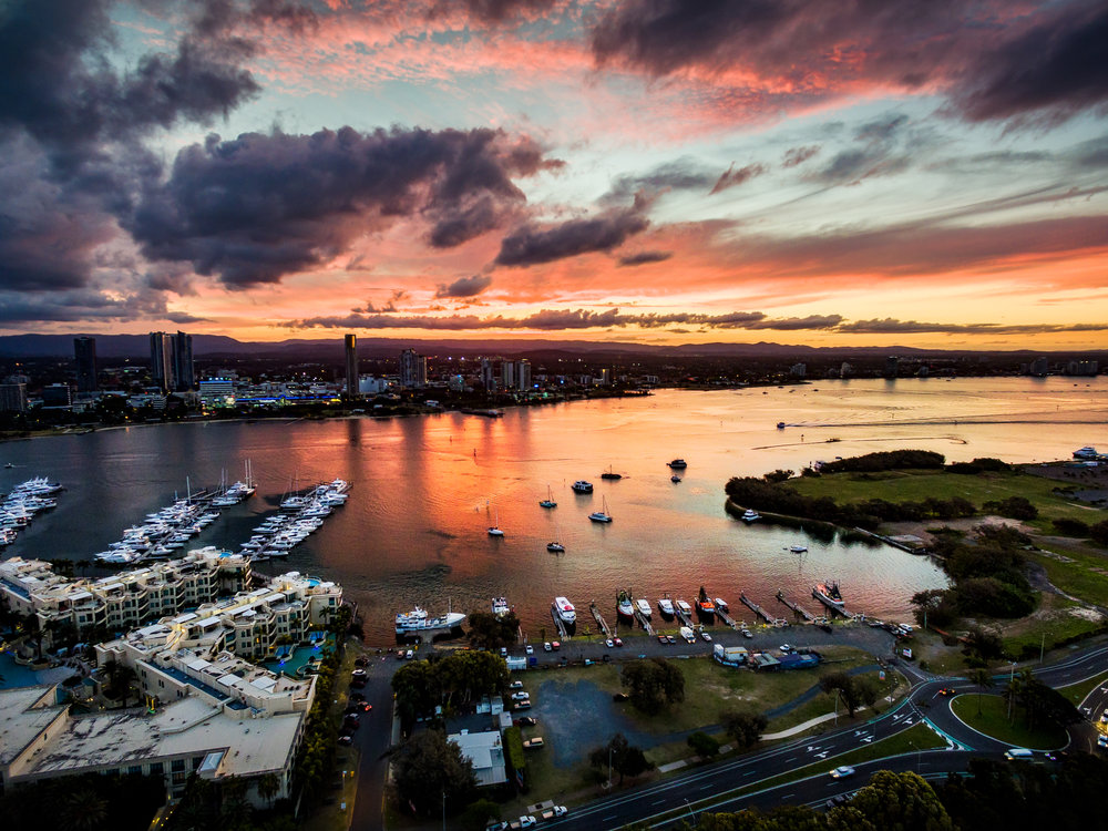 Sunset over Palazzo Versace on the Gold Coast. Taken with DJI Phantom 3 Pro.