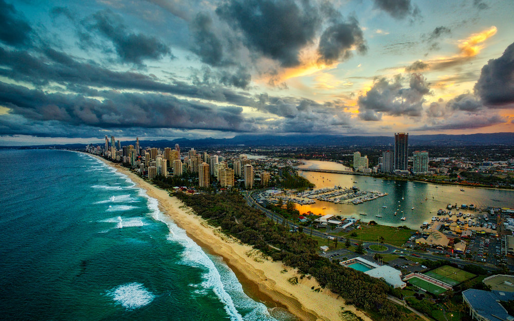 Sunset over the main Gold Coast strip shortly *after* sunset had peaked. All the clouds on the left had been brilliant pink and orange mere seconds before. Taken with DJI Phantom 3 Pro.