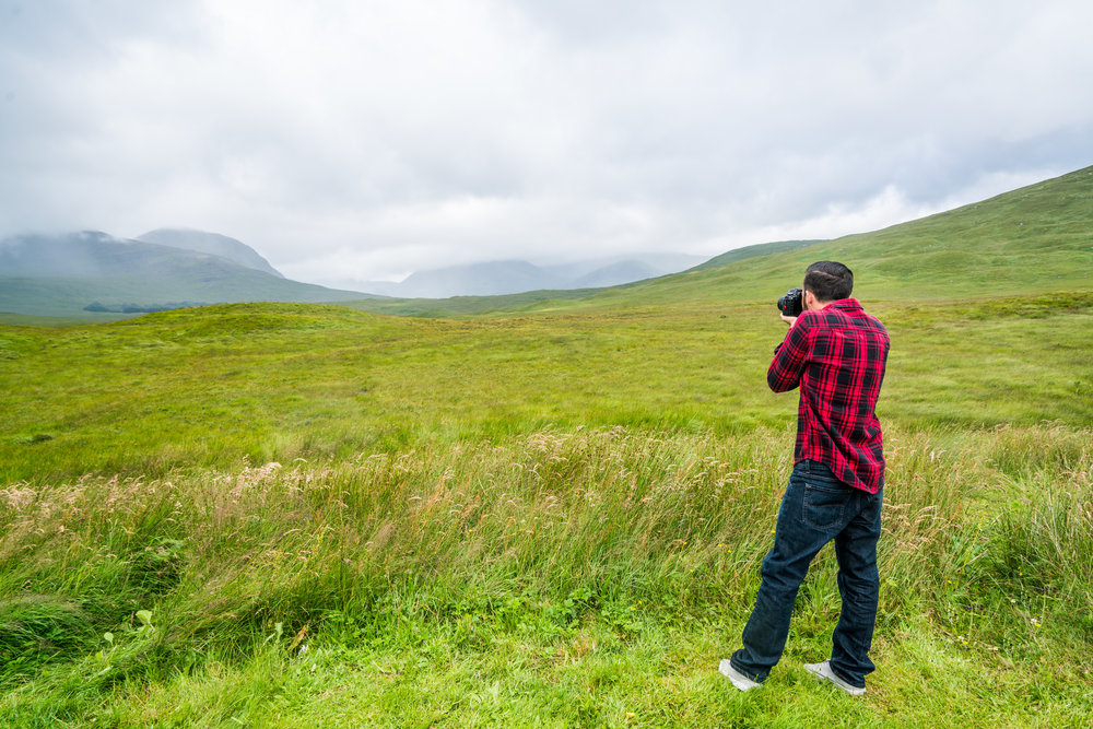 There were many, many opportunities to stop along the A82 and A87 between Glencoe and Isle of Skye! Here my brother Benji is taking a shot.