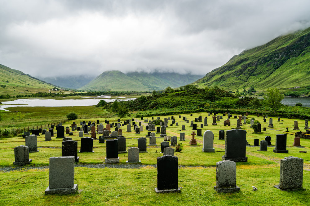 A graveyard along the A82/A87