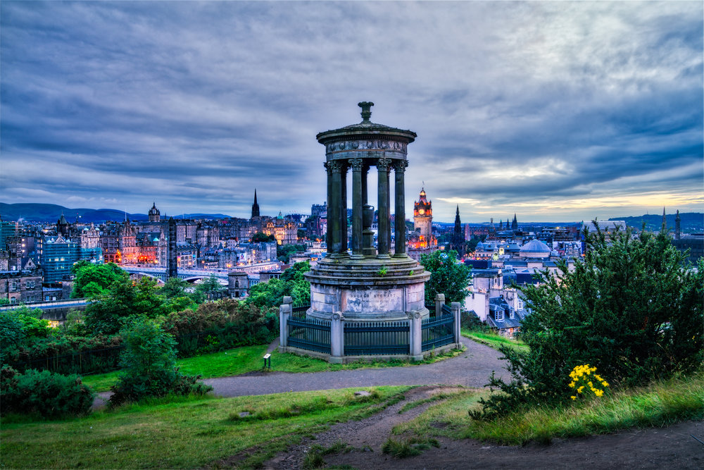 Dugald Stewart Monument on Calton Hill in downtown Edinburgh