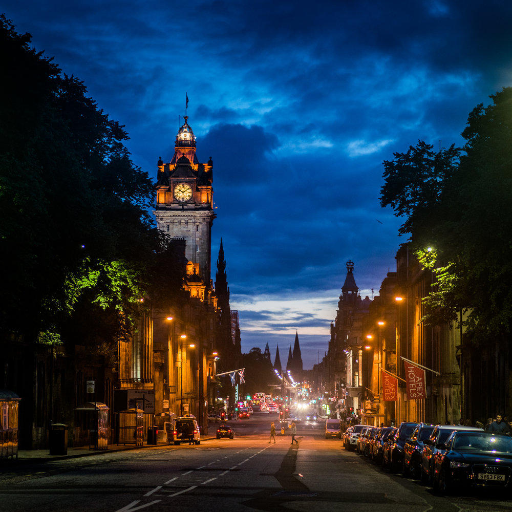 The streets of beautiful Edinburgh from the foot of Calton Hill. Handheld A7rII 55mm, f/1.8, ISO 800, 1/60th.