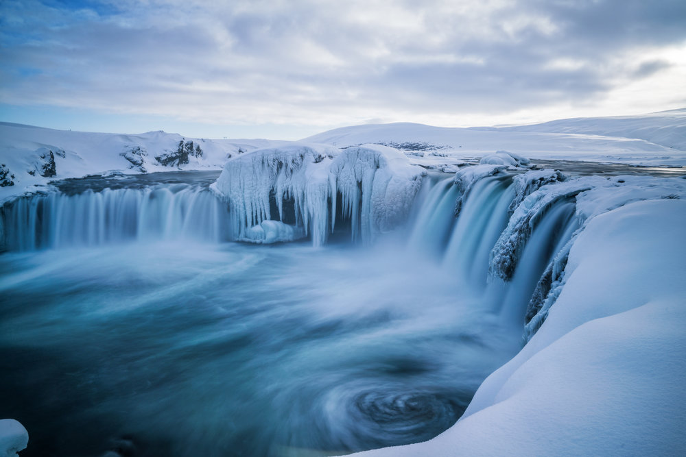 Goðafoss Waterfall, Northern Iceland. March 2, 2016.