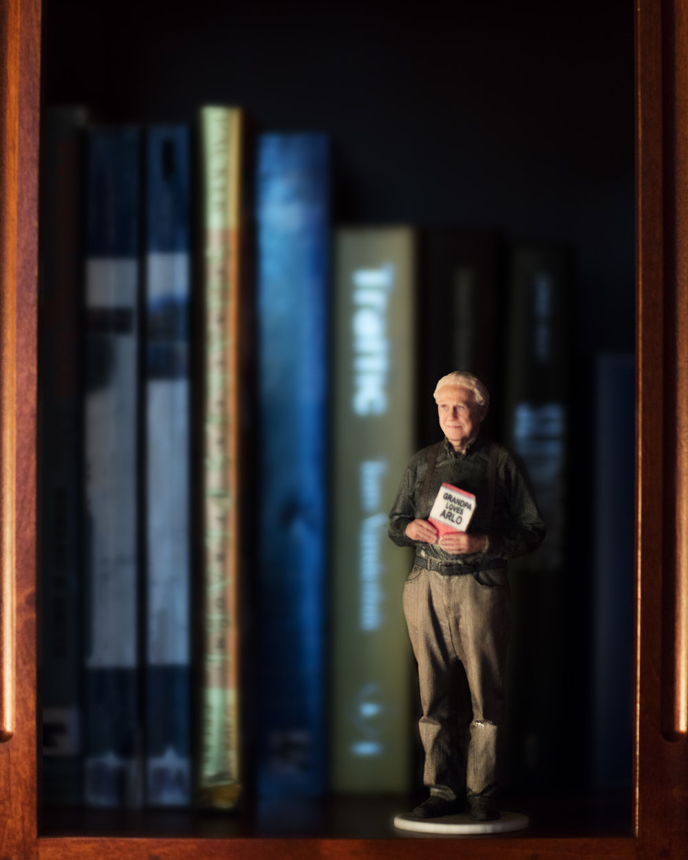 Grandpa on the bookshelf