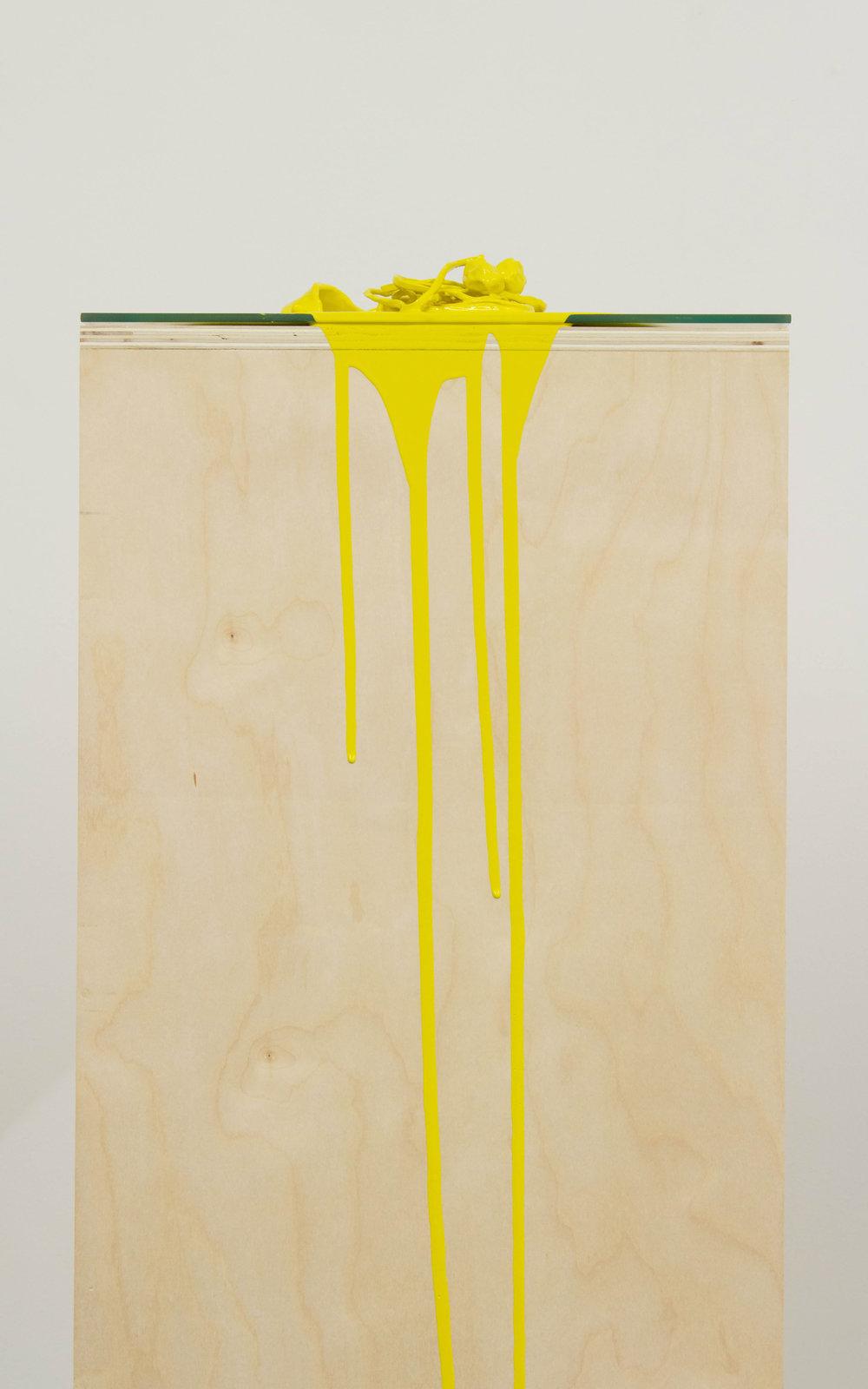 Untitled  (that's not pee)   (detail)  Baltic birch, glass, porcelain, enamel paint  2017