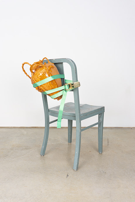 strapped II (hydria series)  earthenware, glaze, chair, ratchet strap  2018