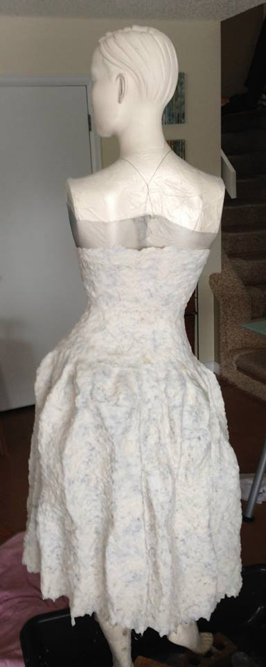 10 hours later I finished applying the pulp. Notice how long the dress is, and that it is presently white.
