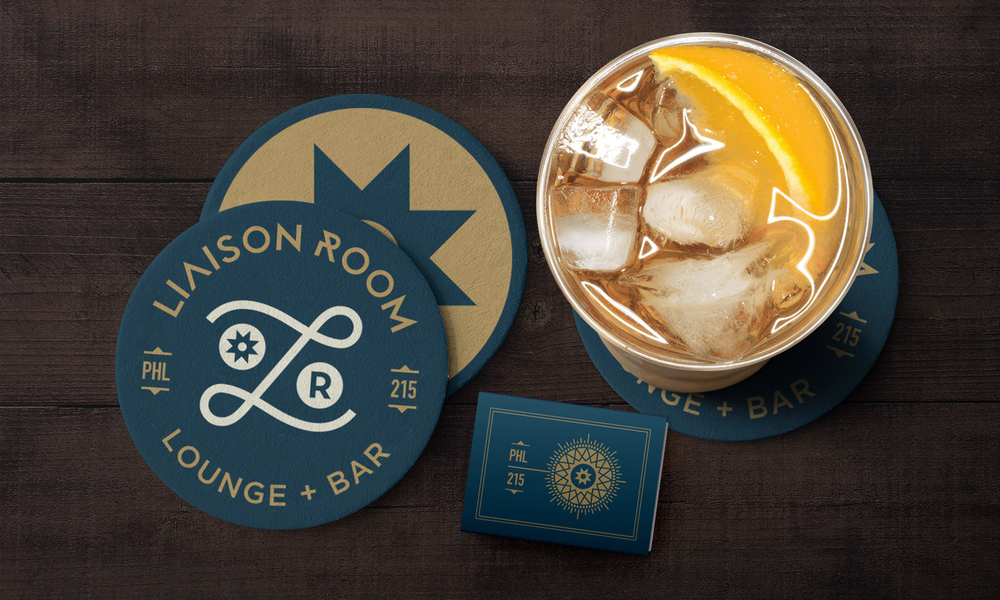 Liaison Room visual identity restaurant collateral coasters and matchbox design