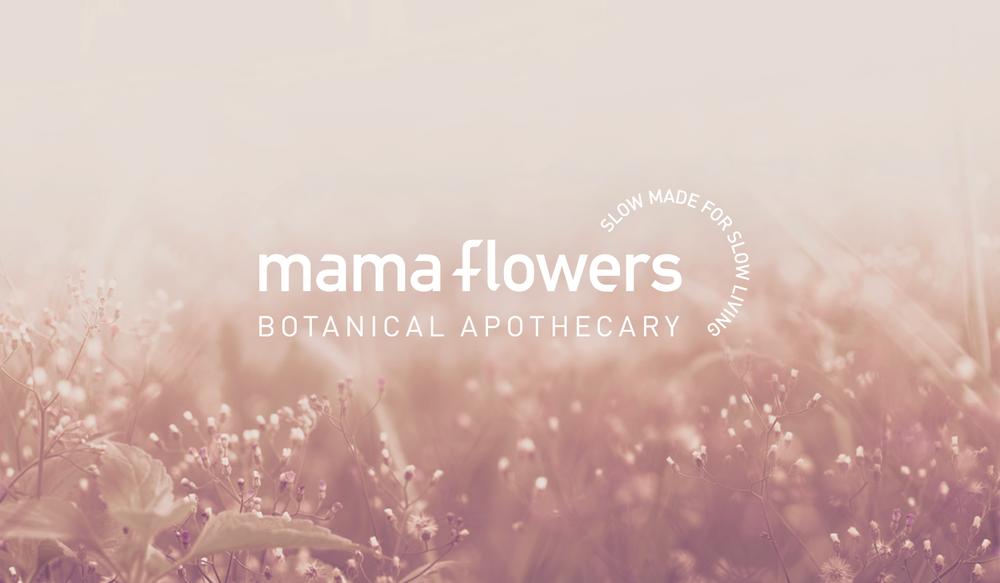 Mama Flowers visual identity logo lockup with tagline