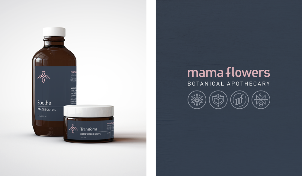 Mama Flowers visual identity packaging label design and logo lockup