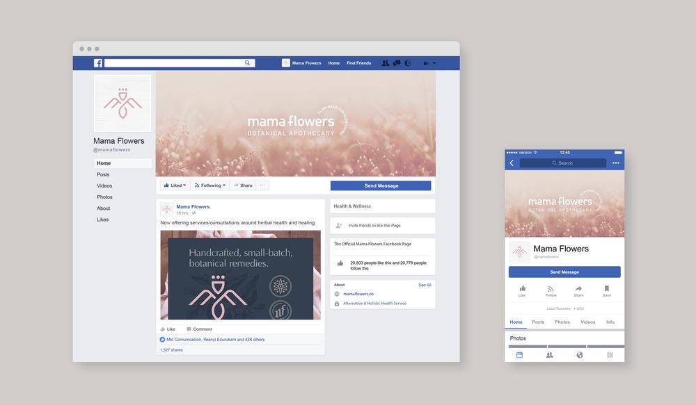 Mama Flowers visual identity social media profile graphics for Facebook desktop mobile