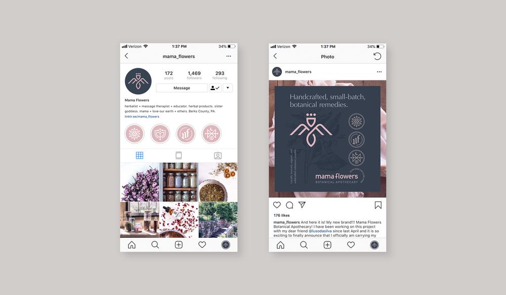 Mama Flowers visual identity social media profile graphics for Instagram