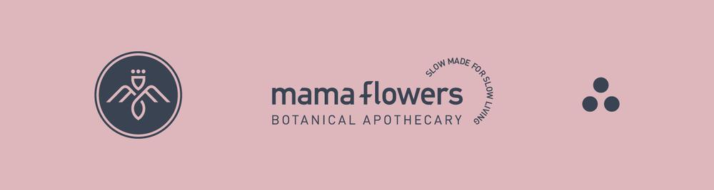 Mama Flowers visual identity symbol logo lockup supporting graphics