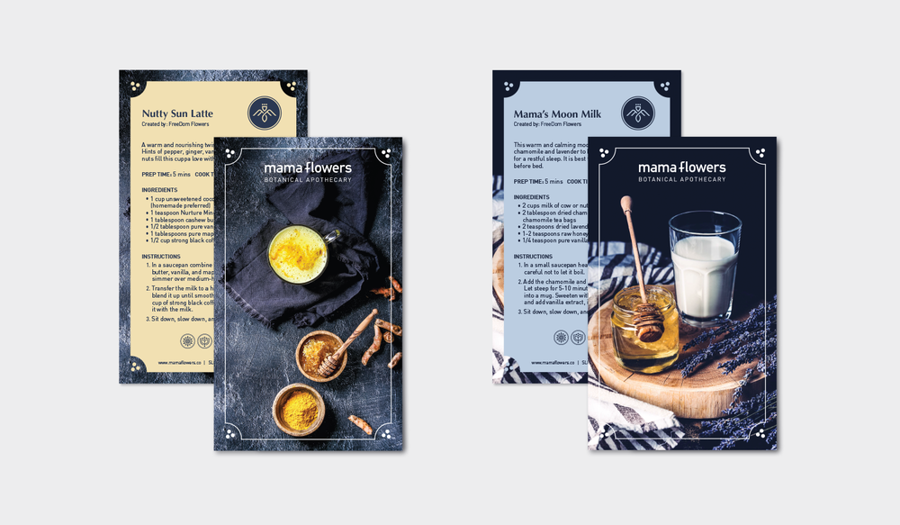 Mama Flowers visual identity print collateral recipe cards