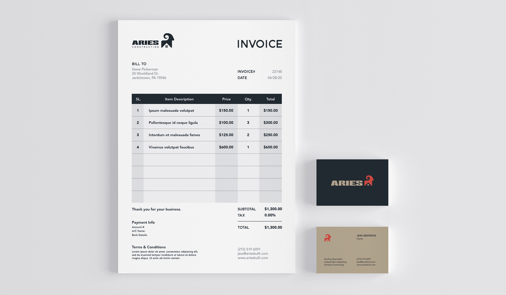 Aries visual identity business cards print collateral