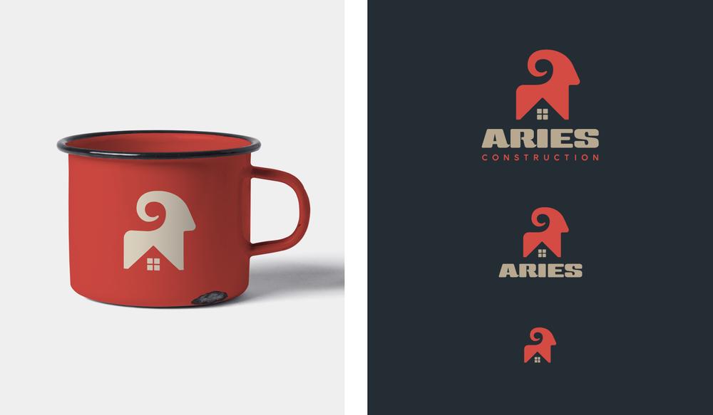 Aries visual identity enamel mug and responsive logo design