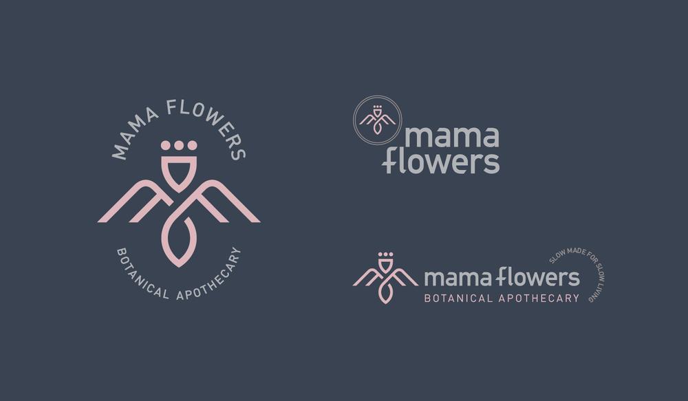 Mama Flowers visual identity logo lockups