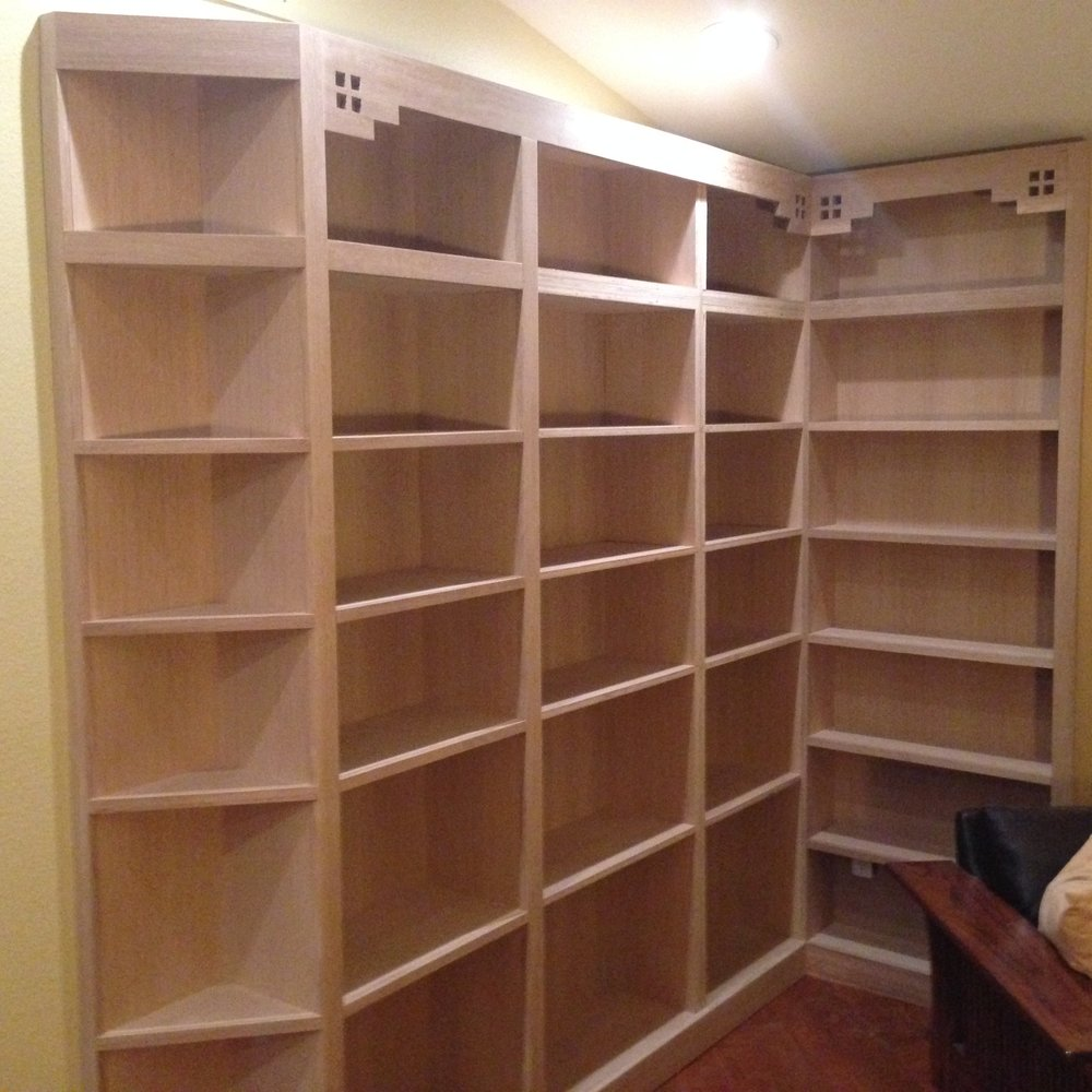 Arts and Crafts Style Bookcase (Left Side before finishing) with Greene and Greene Motif - Quarter Sawn White Oak