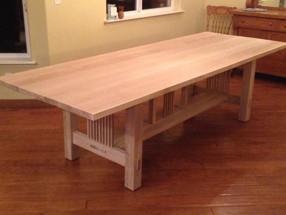 Quarter-sawn white oak harvest table, unfinished