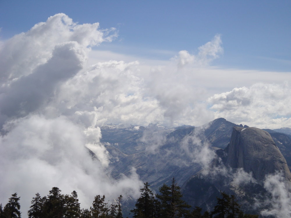 Half Dome and Clouds Rest - June 2008 - View of Half Dome and Clouds Rest from Sentinel Dome. The trail head for Sentinel Dome can be found off Glacier Point Road.