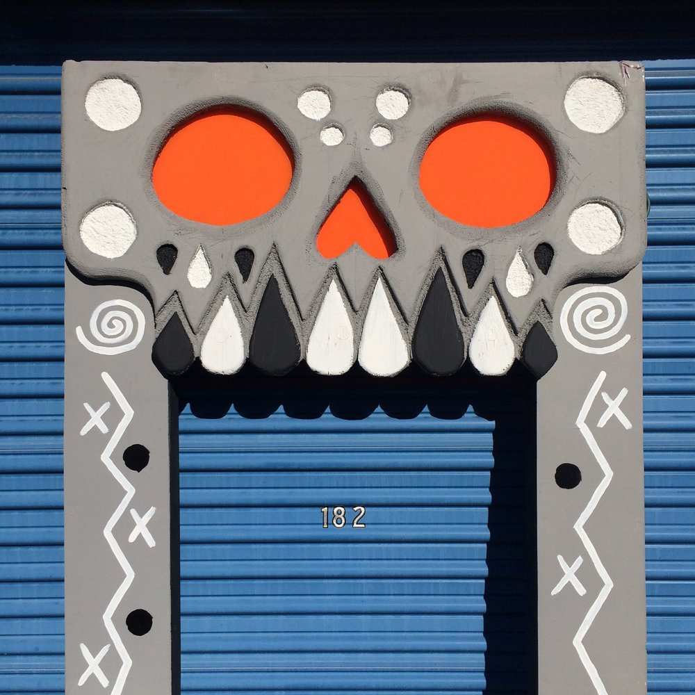 Hand fabricated and painted entryway.  Complete with illuminated eyes and nose.