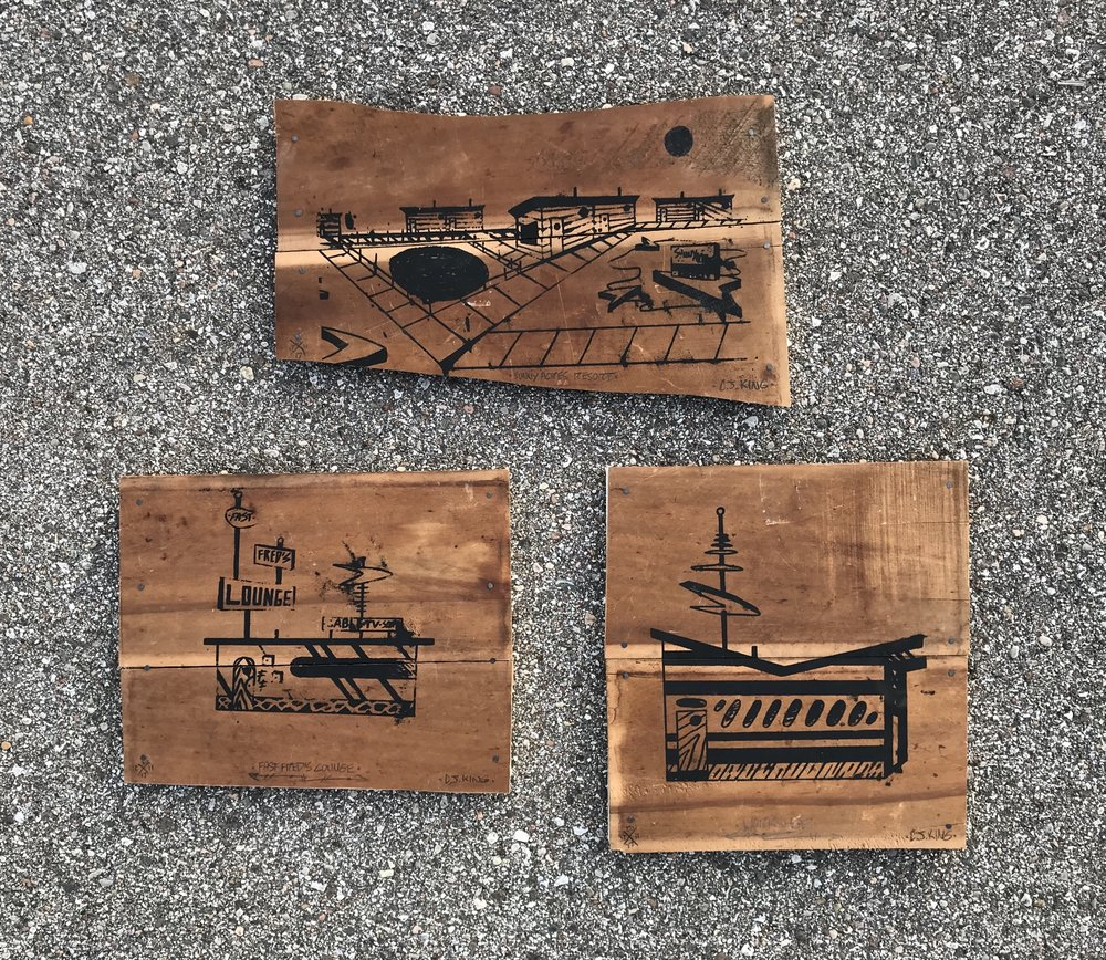 Screenprints on wood.  Featured in  Re-Cycl e at Wildrose Brewing Griffith, Indiana.  December 2017.