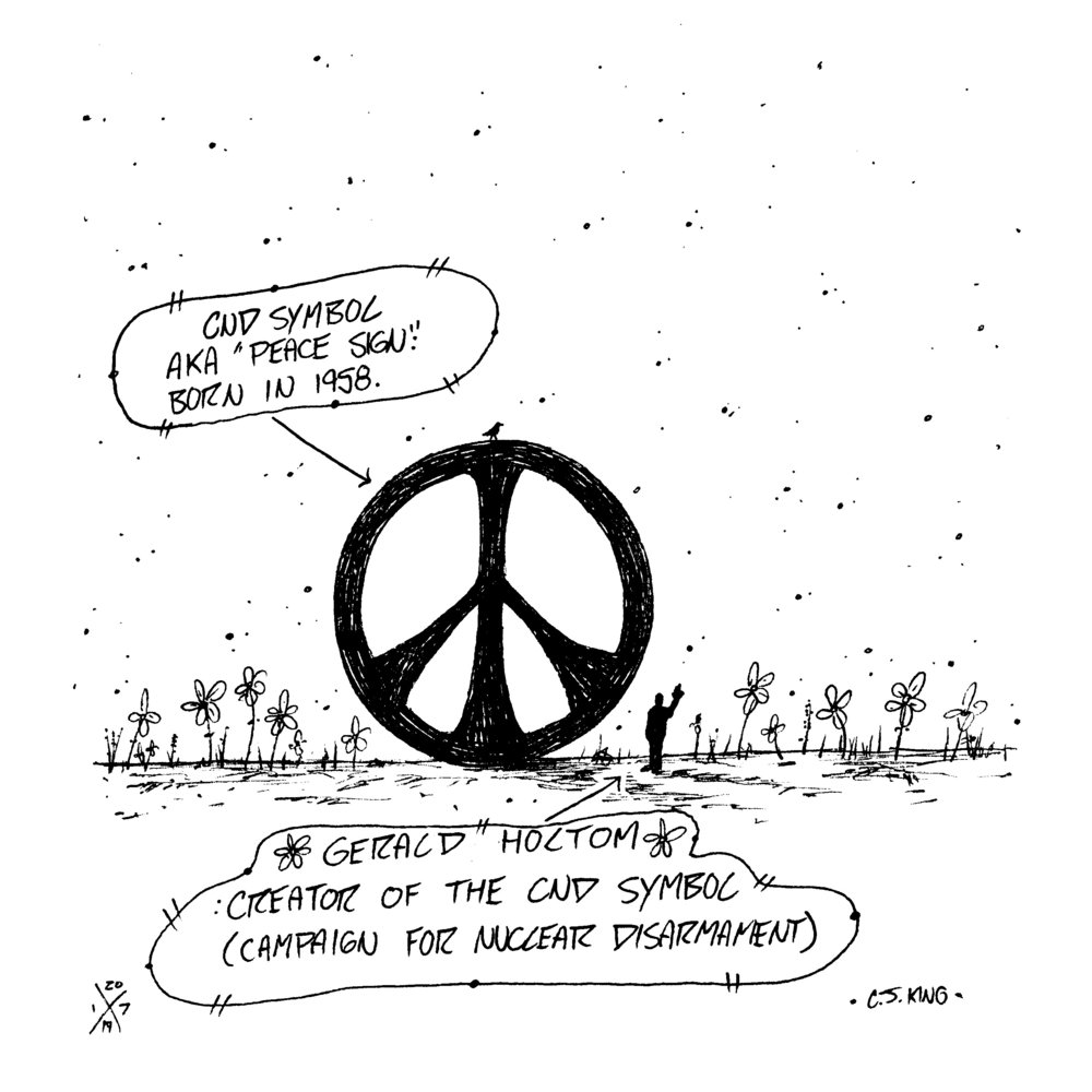 "Artist Gerald Holtom is the creator of one of the world's most widely recognized symbols. Did you know? I admit, I didn't, until I did some quick research. Gerald's CND symbol aka ""peace sign"" took on colossal proportions after its creation in 1958 for the Campaign for Nuclear Disarmament but it seems as though Gerald isn't mentioned much. Get your fix of knowledge on the subject at the link below👇🏻   https://cnduk.org/the-symbol/"