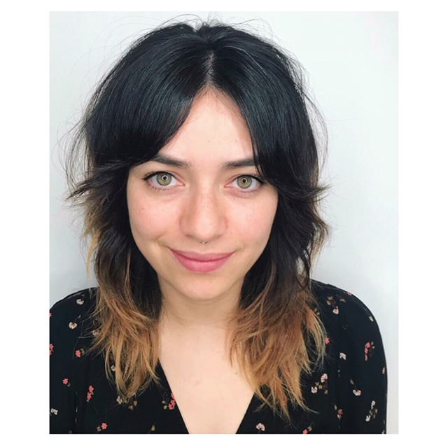 Happy Sunday! Easy longer fringe and cool girl shag cut by Lauren. Looks so great pulled back too. Wake up and go hair. Love it... @cutcolorlauren #edosalon #shaghaircut #curtainbangs