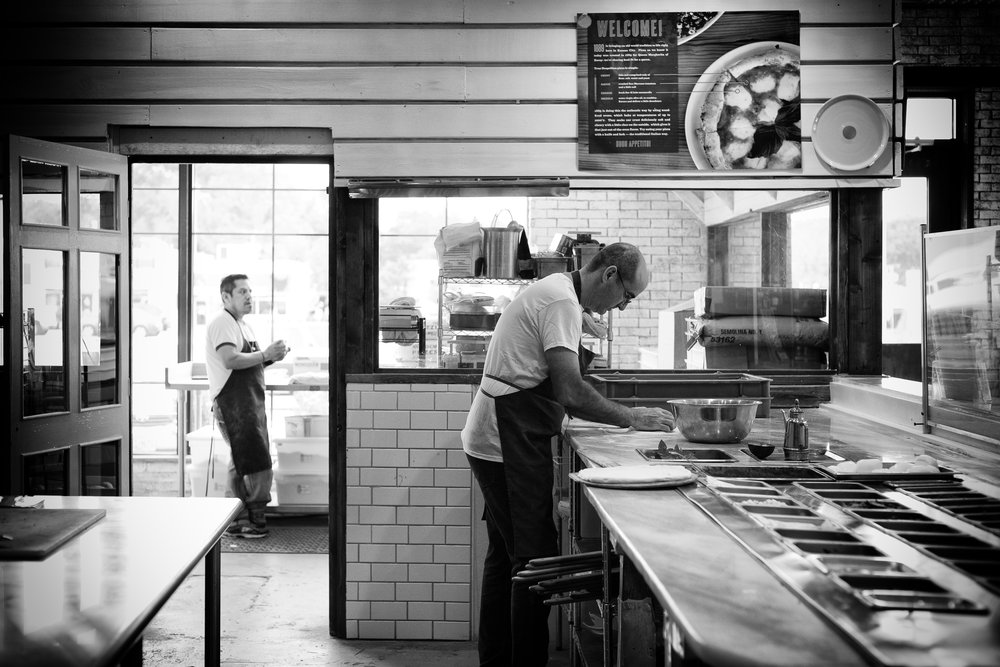A husband and wife team bootstrap the concept and design of a pizza joint in KCK. After shooting their food I had to capture some of the restaurant's feel. It is impressive that they created everything themselves.