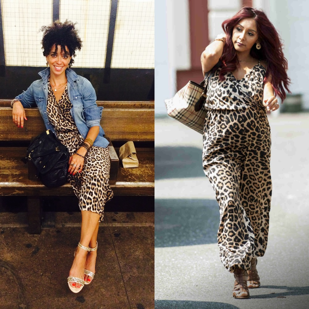 "You remember when I (inadvertently) stole Snookie's outfit last week?  Well, after showing a friend my new leopard print romper and hearing her tell me that ""Snookie wore the same one...""  I wasn't thrilled but I knew that I had to change up a few things.  So, STEAL away but DO be sure to make whatever you ""steal""  authentically yours.  Leopard print romper, anyone?!"