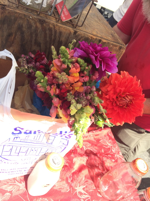 Went to Sahadi's, then hung out at the Greenmarket and picked up fresh milk AND lovely flowers.