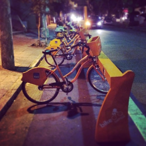 No boring blue bike shares in Brazil--these folks LOVE color.