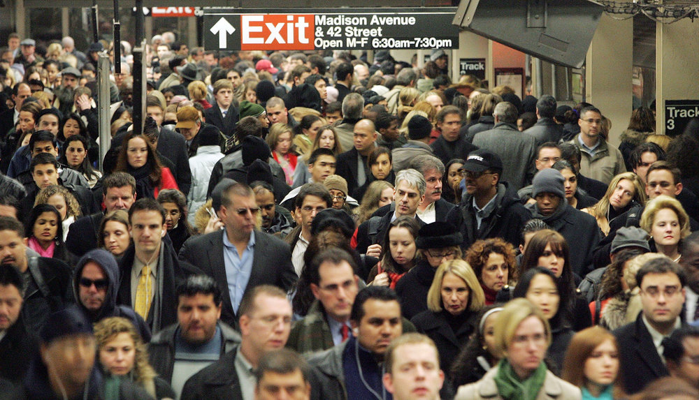 Typical scene in New York during rush hour.