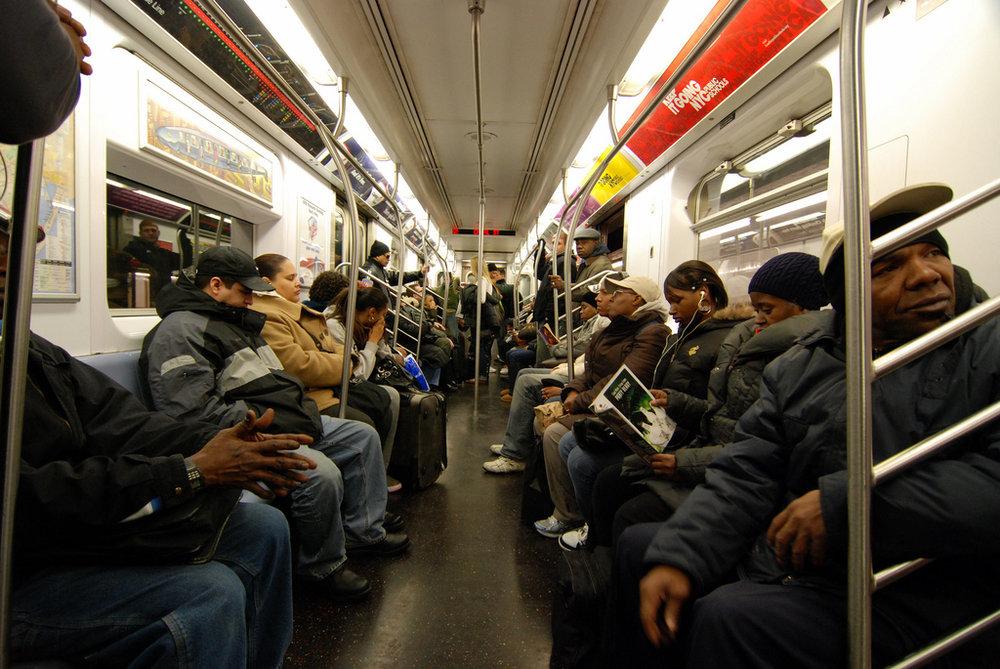 Inside a New York City subway train.